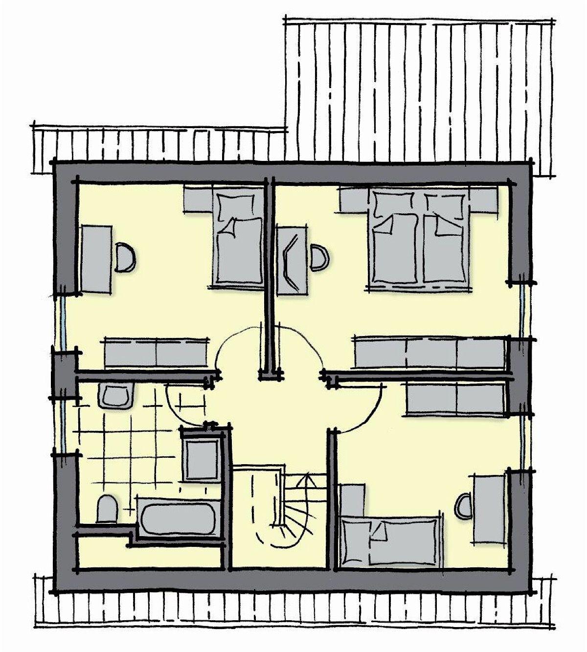 Fertighaus Grundriss Obergeschoss mit Satteldach