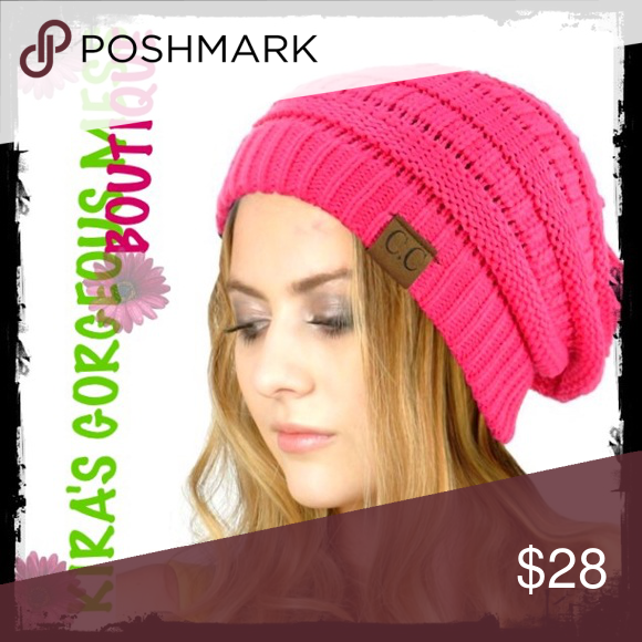 2bb2bba0b46 BNWTSoft Stretch Cable Knit Slouchy Beanie Skully BNWTSoft Cable Knit  Slouchy Beanie Skully CANDY PINK
