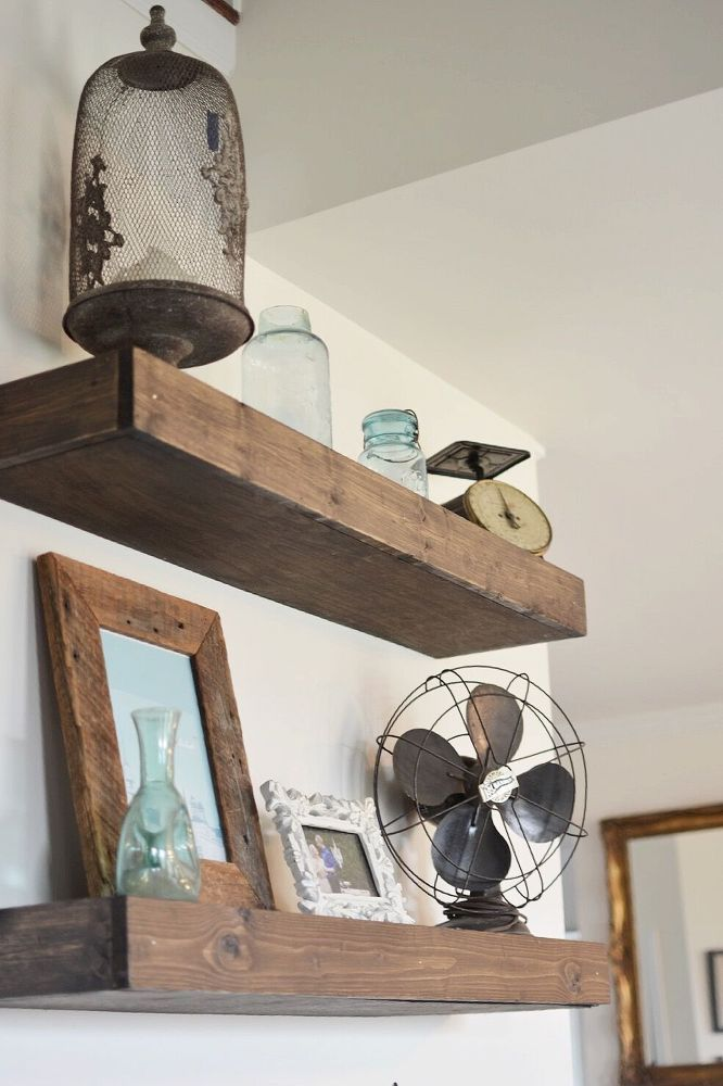 How To Hang Floating Shelves How To Make Floating Farmhouse Shelves  Pinterest  Empty Wall