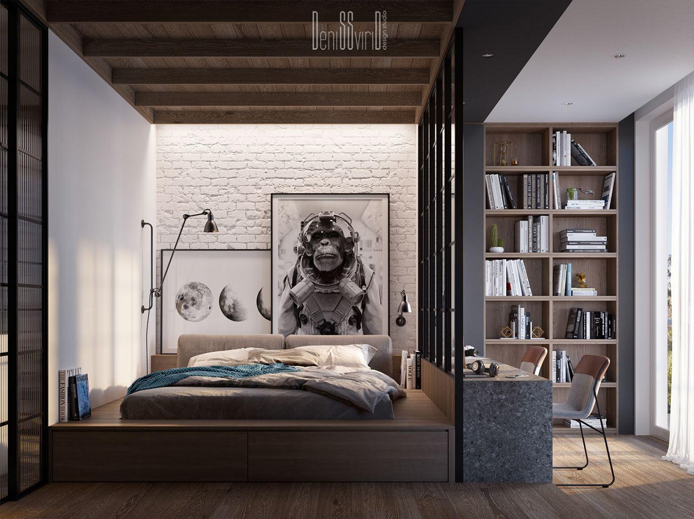 Un loft sombre par un architecte