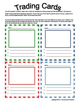This A Fun Interactive Way To Get Student To Process The Important Contributions Of Historic Trading Card Template Trading Card Ideas 6th Grade Social Studies