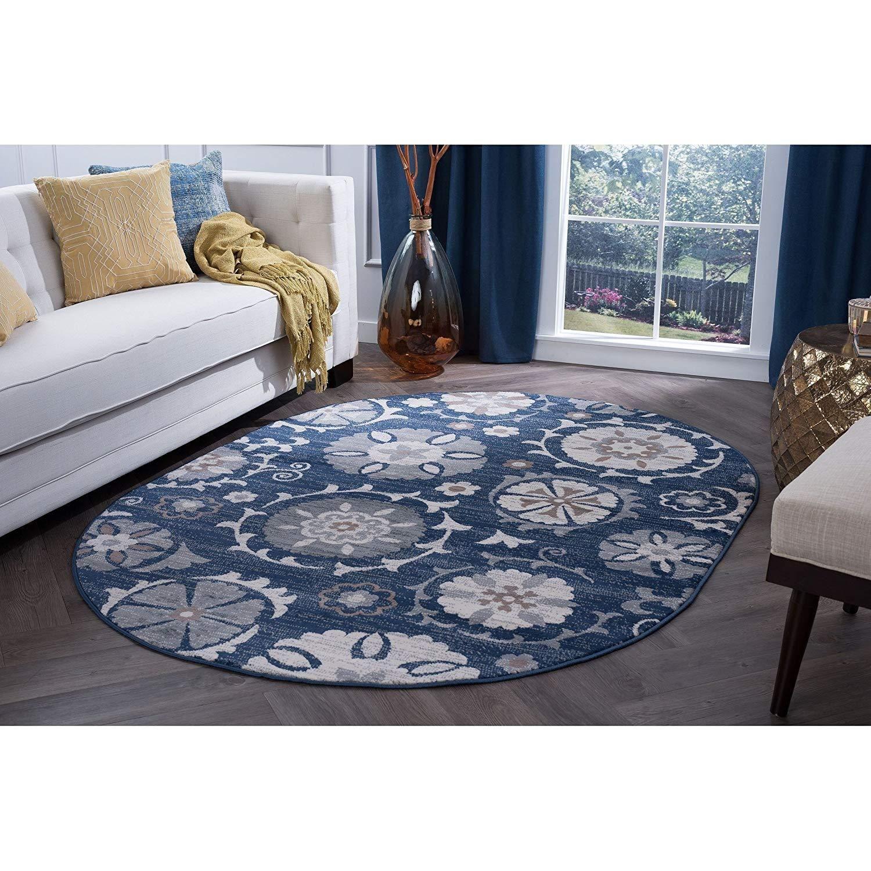 5 3 X 7 3 Navy Blue Floral Pattern Oval Rug Gray White Tan Flower Themed Oblong Carpet Geometric Circle Patterned Flowers Patterne Oval Area Rug Rugs Oval Rugs