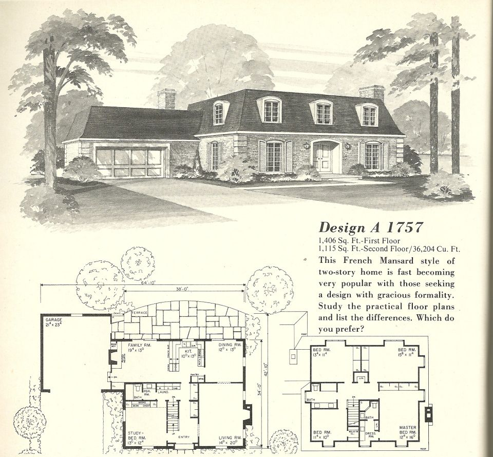 Vintage House Plans French Mansards 5 Vintage House Plans Cottage House Plans Cottage Floor Plans