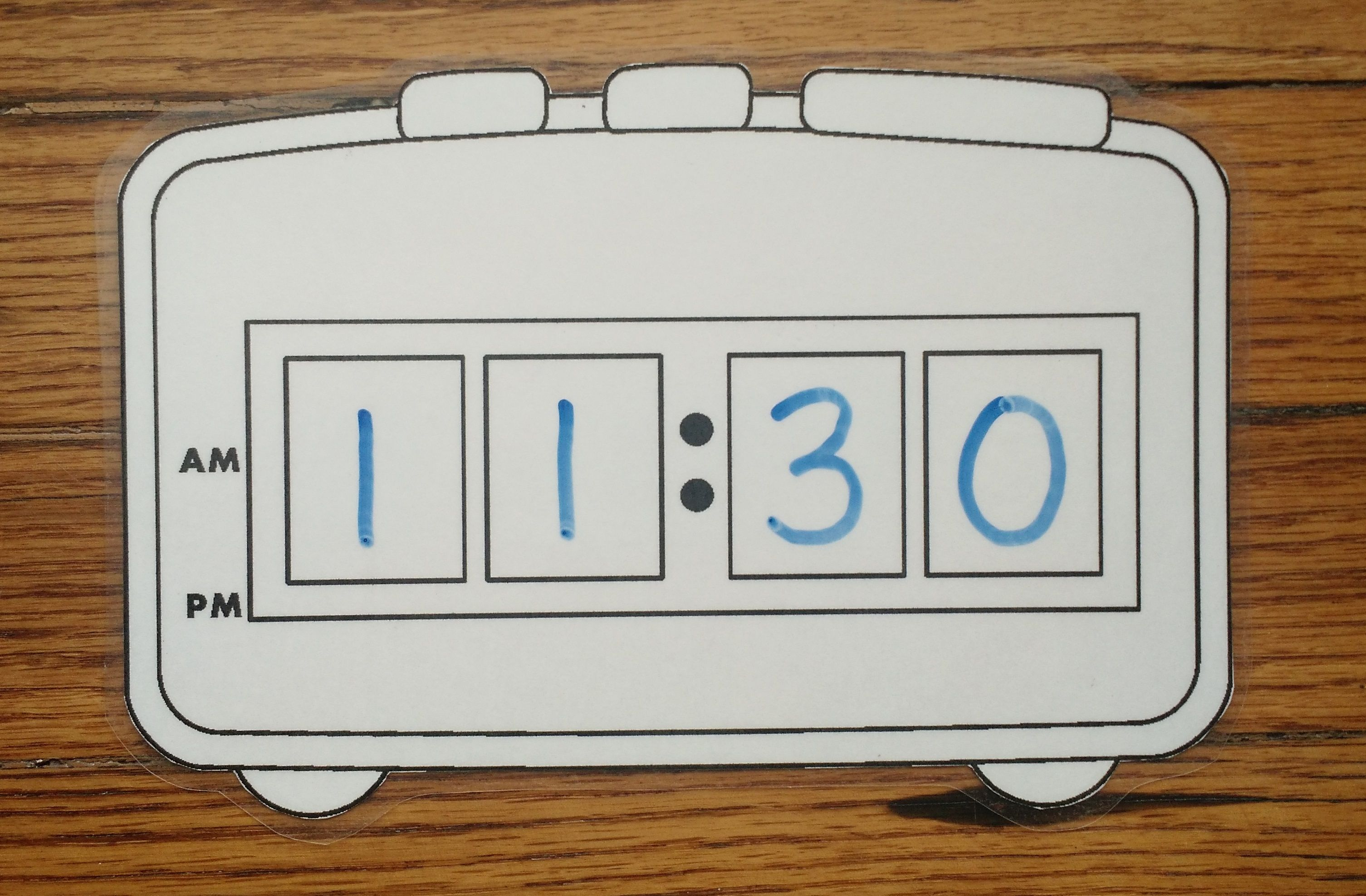 Tell Time With A Digital Clock Laminate The Digital Clock Template And Use Dry Erase Markers To
