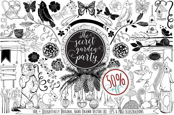 Line Drawing Vector Graphics : Sale garden party vector graphics by carrie stephens art on