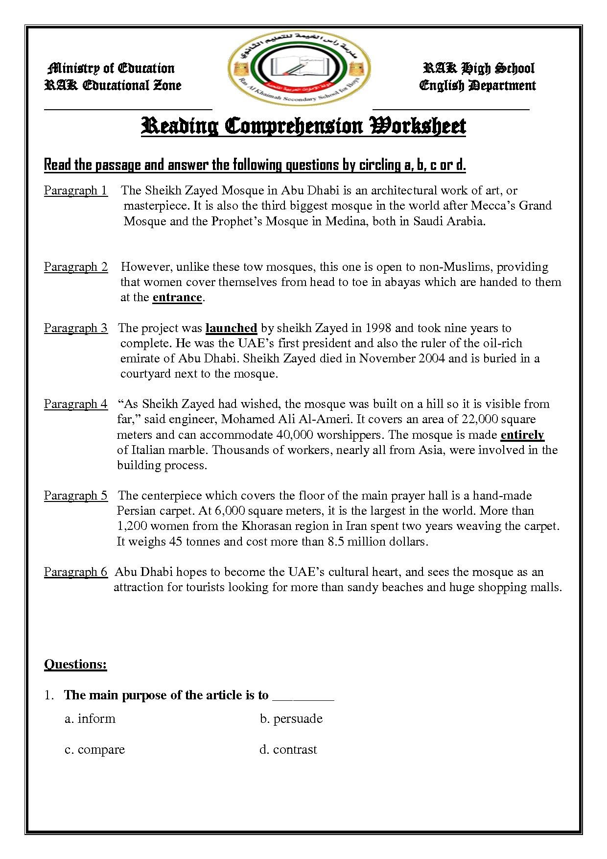 Nice 1st Reading Comprehension Worksheets That You Must