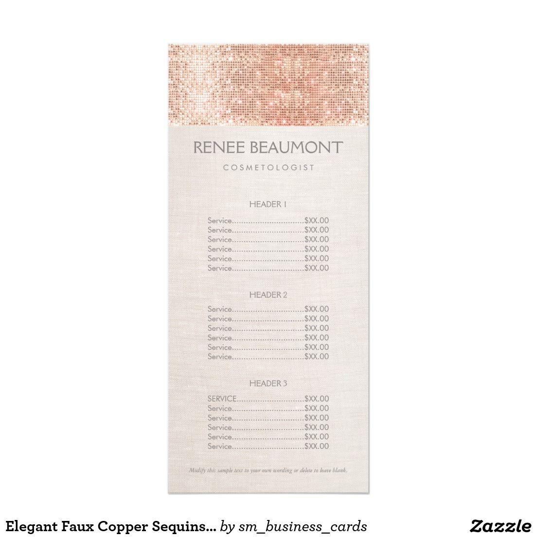 Elegant Faux Copper Sequins Salon Price List Menu   Pinterest ...