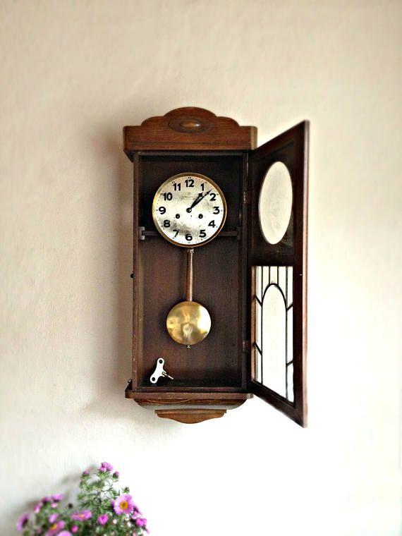 Vintage Pendulum Wall Clock Large Wall Clock Dark Wood Wall Etsy Large Wall Clock Pendulum Wall Clock Vintage Wall Clock