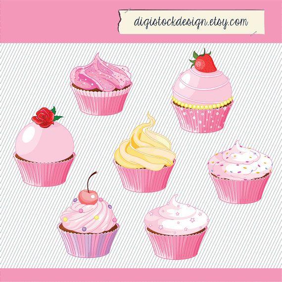 pink cupcake clipart food illustration cupcakes clipart cupcake rh pinterest com Valentine Cupcake Clip Art Pink Cake Clip Art