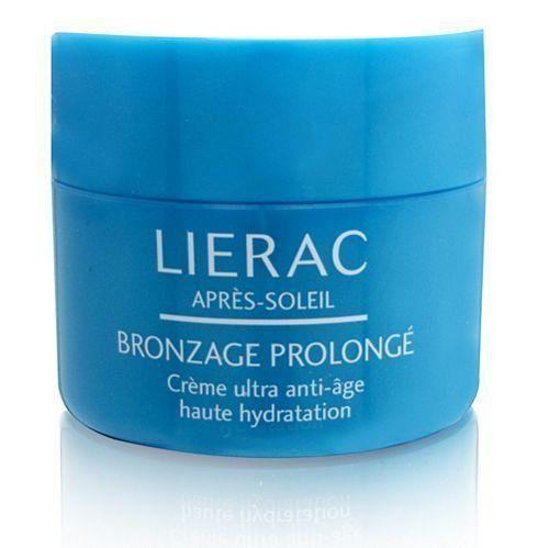 LIERAC Paris After Sun Ultra Anti-Aging High Hydration Face Cream, 1.29 oz. by LIERAC Paris. $28.99. Prolonged Tanning Face Cream. This after sun face cream with a velvety texture is enriched with extracts of jasmine, cactus fig, and spices to help soothe sun-induced feelings of overheated skin.  It also repairs visible signs of skin aging, maintains a tan and ensures long-lasting hydration.