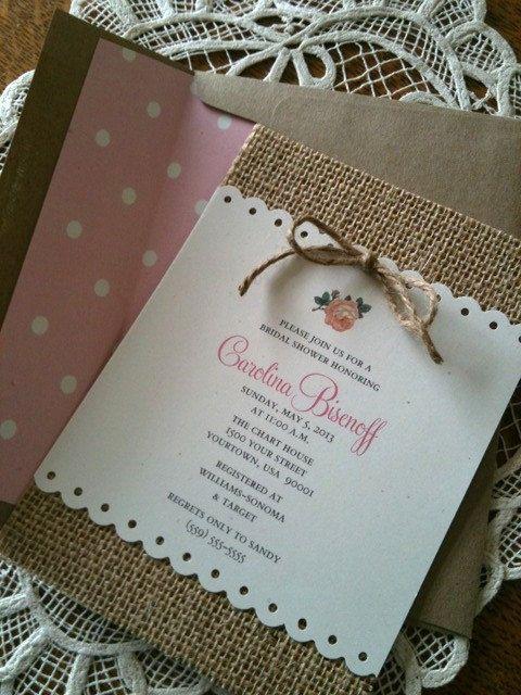 Burlap Invitation Recipe Card Bridal Shower By CreationsBySandyh, $3.35