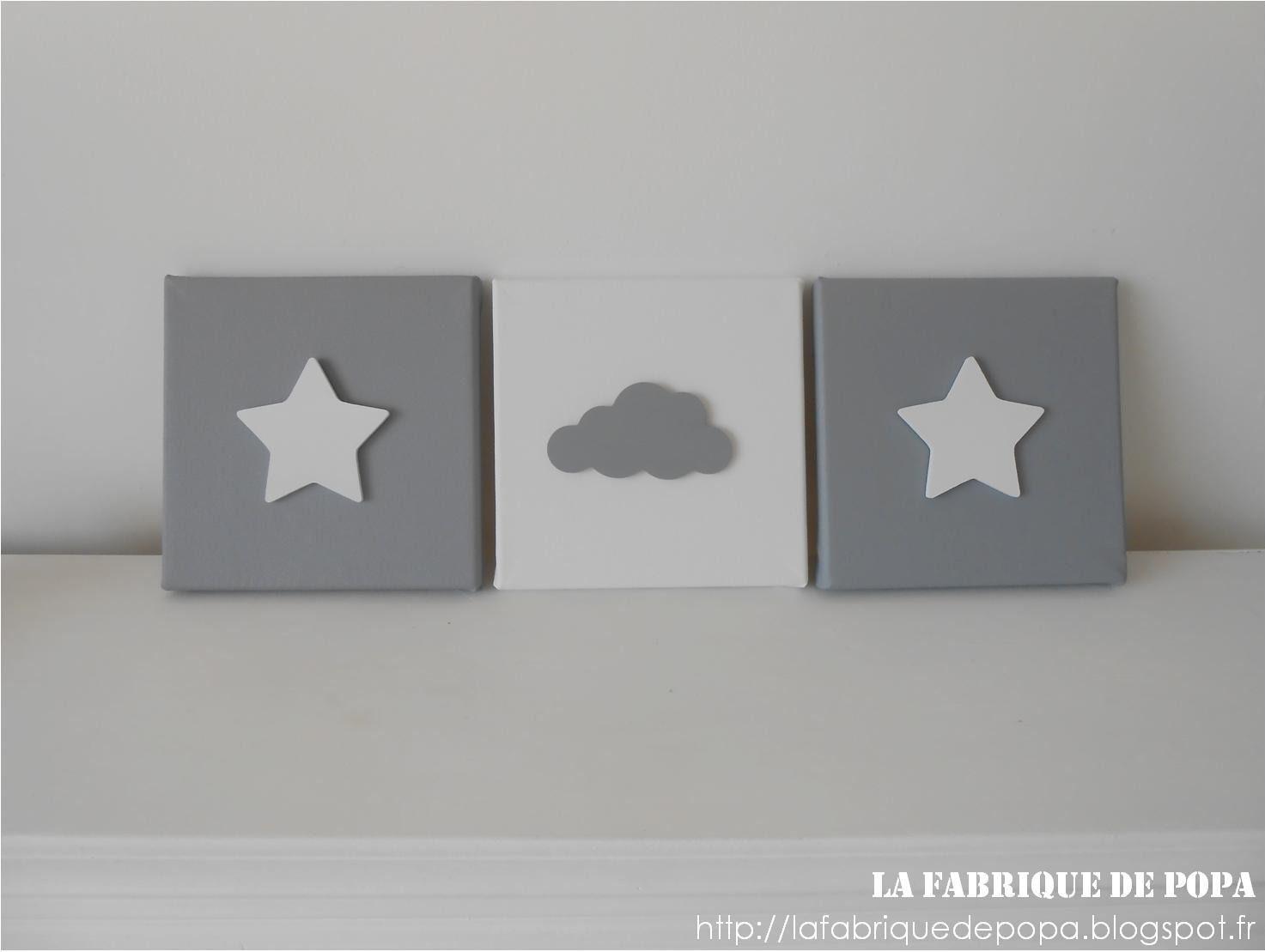Triptyque 20x20 étoile et nuage gris blanc déco chambre enfant ...