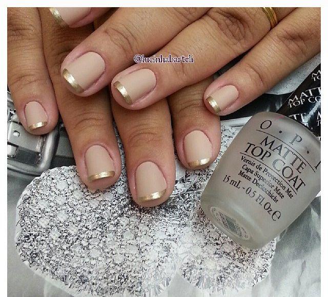 French Matt nails - nude & gold - OPI\