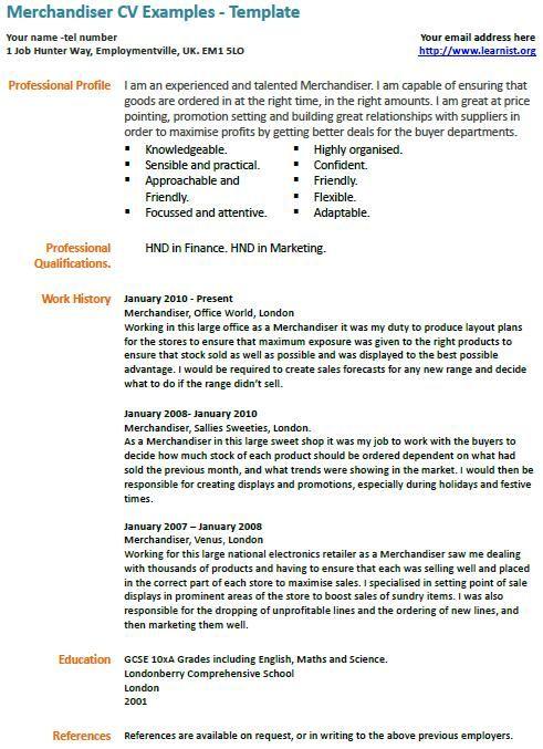 Merchandiser CV example Engineering resume Cv examples, Resume