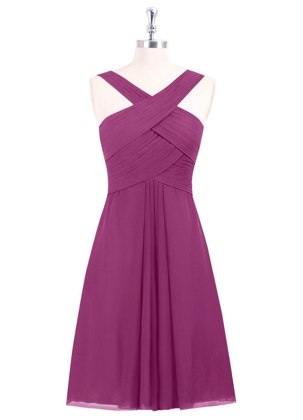 New Arrival Knee Length Short Bridesmaid Dress Ruched Chiffon ...