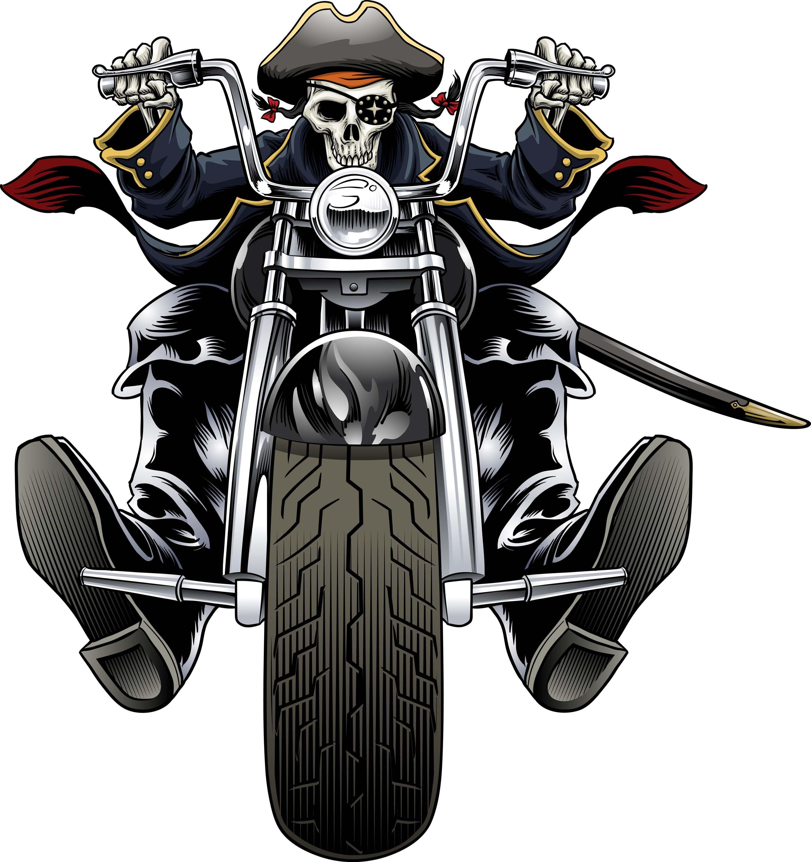 Biker Pirate Skull Biker Art Monster Truck Art Motorbike