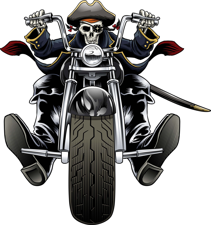 Biker pirate skull biker art motorbike illustration