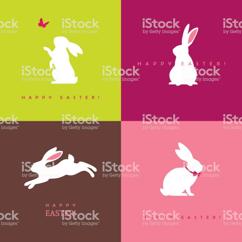4 つの白ウサギ シルエット アナウサギのベクターアート素材や画像を