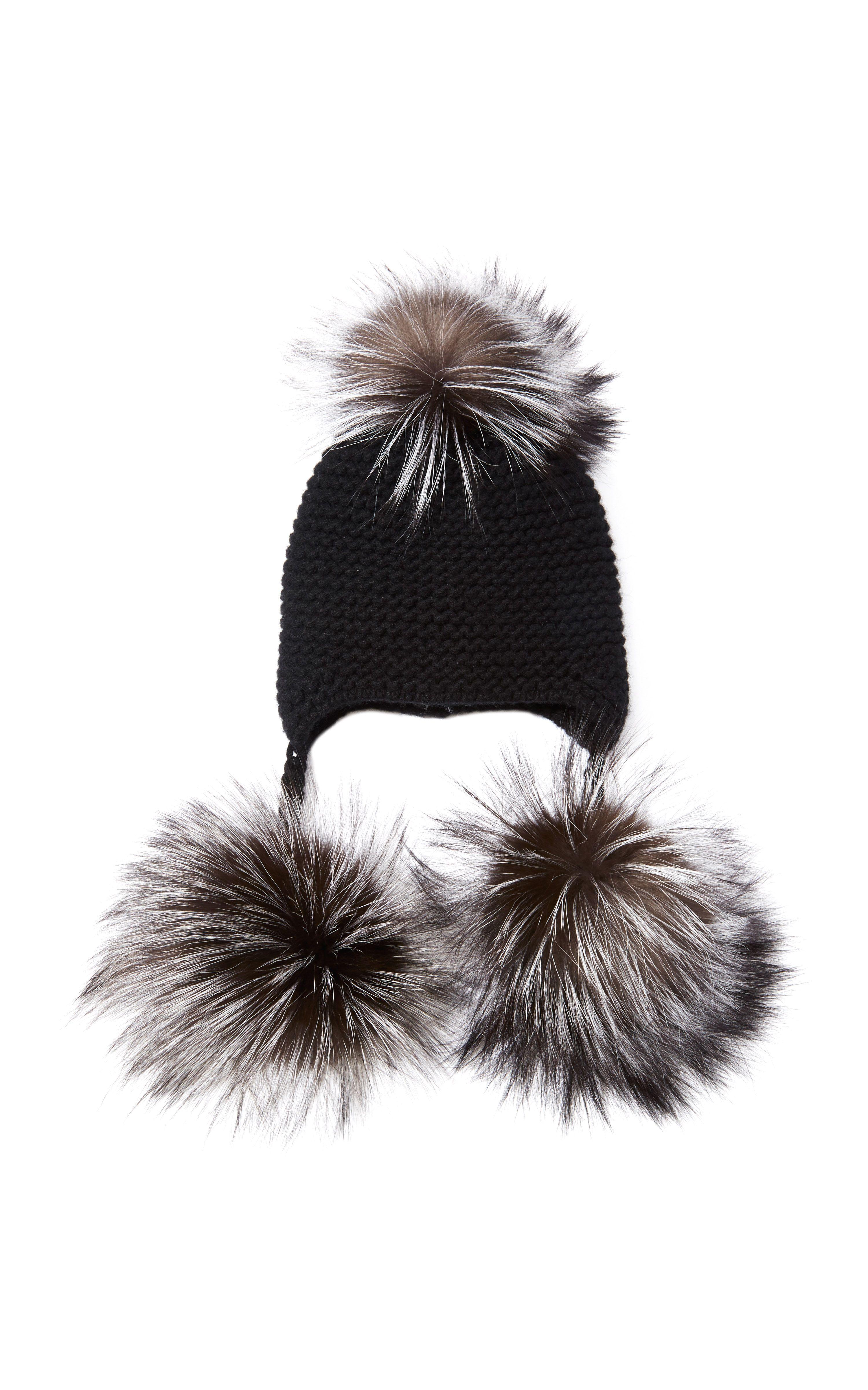 fox fur triple pom pom beanie hat - Grey inverni Wob8EW