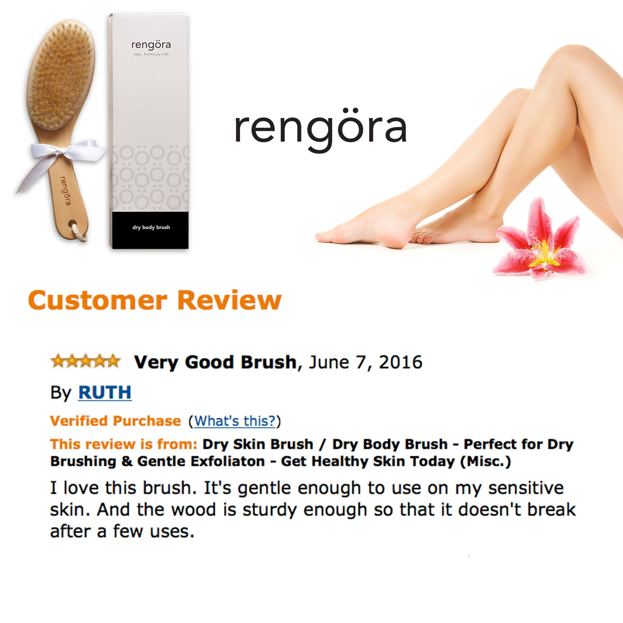 Great new review and others like it who are very pleased with their new dry body brush. Dry brushing is a great way to exfoliate your skin, get your circulation flowing, and remove toxins from your body. Check it out...your healthy new skin will thank you for it!