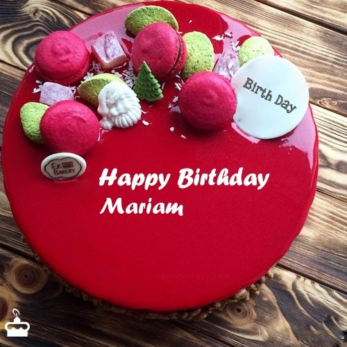 Happy Birthday Mariam Cake With Name Flo In 2019 Red