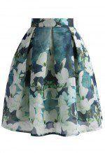 Greenish Magnolia Pleated Skirt