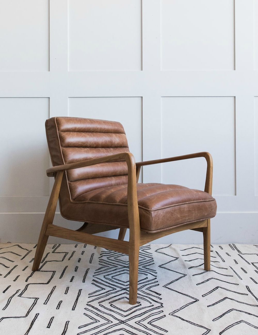 Mid Century Leather Armchair Brown In 2020 Brown Leather