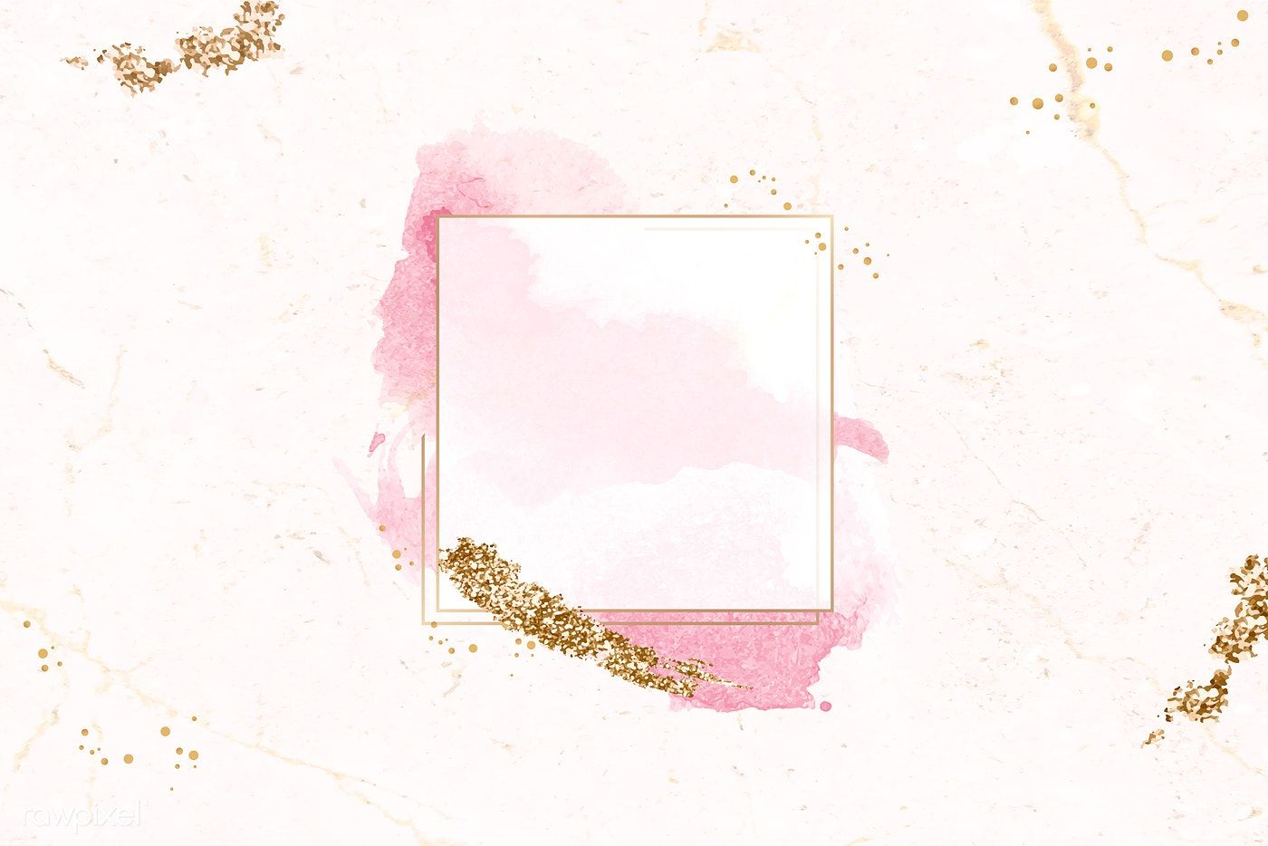 Download Premium Vector Of Gold Square Frame On Pink Watercolor