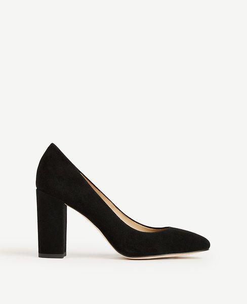 f5db7e4744 ANN TAYLOR Emeline Suede Block Heel Pumps. #anntaylor #shoes #pumps ...
