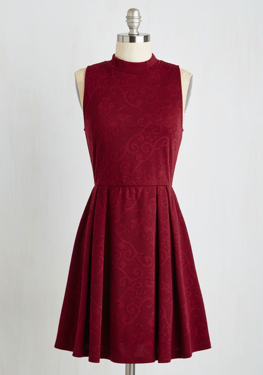 Seeking Regal Advice Dress. Your friends know youre the go-to gal for timeless style guidance, and seeing you flaunt this burgundy frock inspires requests for your counsel! #red #modcloth