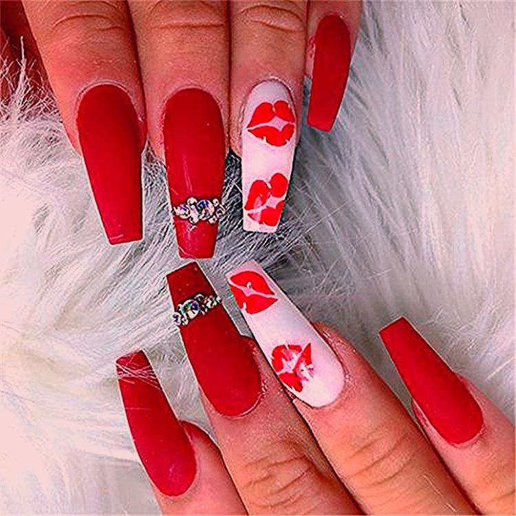 Photo of Trendy Winter Red Sarg Nail Designs für Weihnachten und Neujahr; Red Long A …