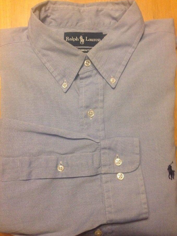 Ralph Lauren Yarmouth Sz 17 34/35 Blue Oxford Dress Shirt Cotton FREE SHIPPING #RalphLauren #DressShirt #Yarmouth #MensFashion #CottonDressShirt