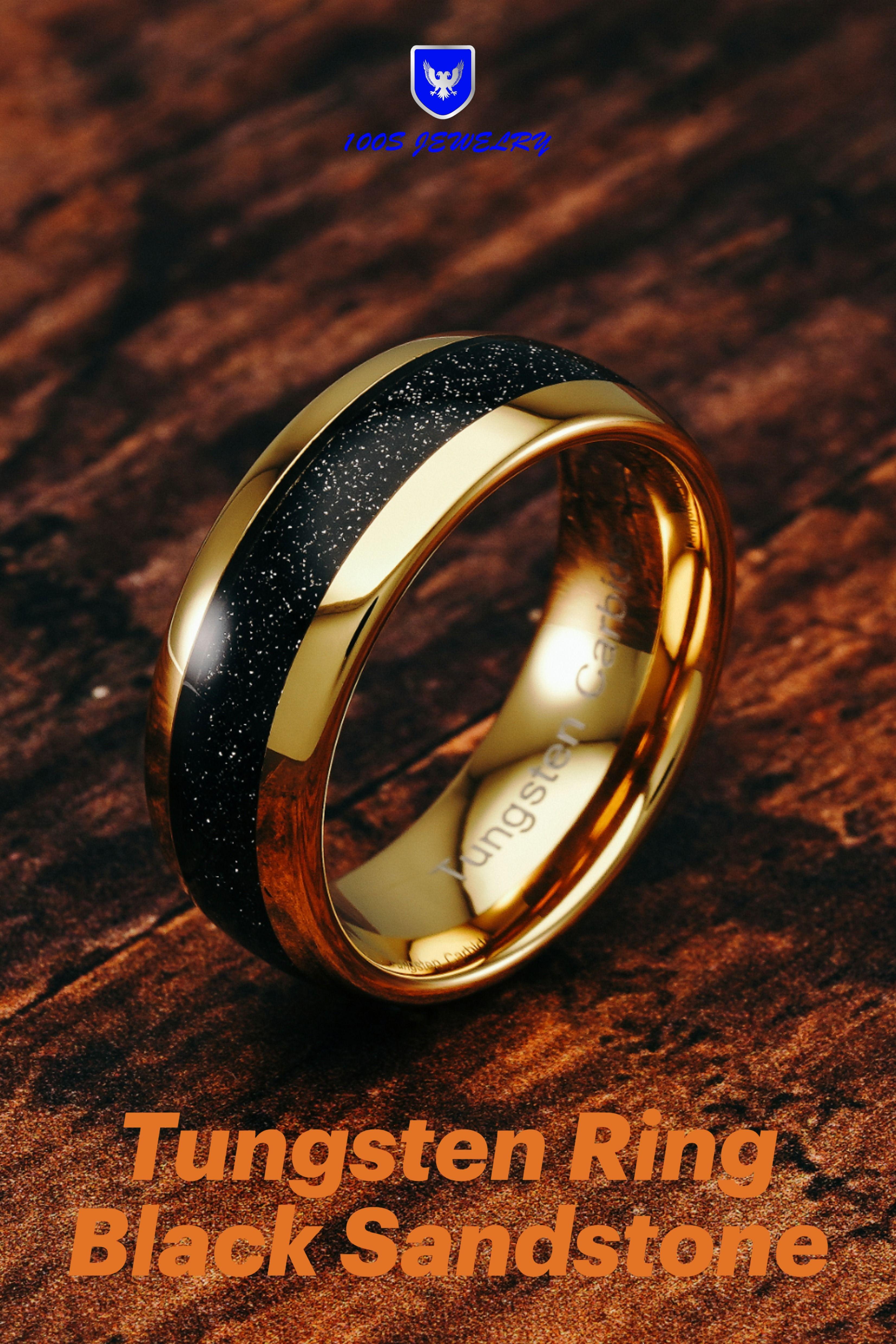 Men Tungsten Wedding Band Ring Black Sandstone Inlay Gold