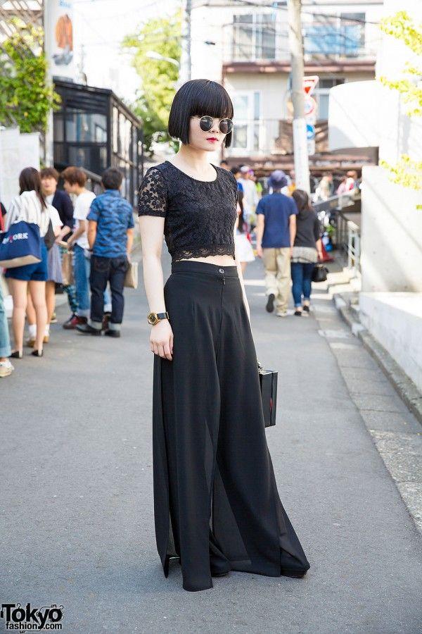 All Black Fashion w/ Nadia Harajuku Culottes, Box Bag & Marc by Marc Jacobs (Tokyo Fashion, 2015)