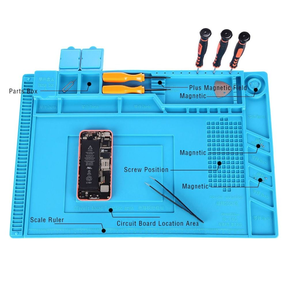 Promo 2017 New 17 7 X 11 8 Inch Magnetic Project Mat Repair Heat Bga Soldering Tool Kit 12 Different Tools Circuit Board Insulation Silicone Pad Desk Electrical Bags