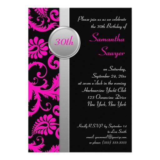 pink black and silver 30th birthday invitation 30th birthday