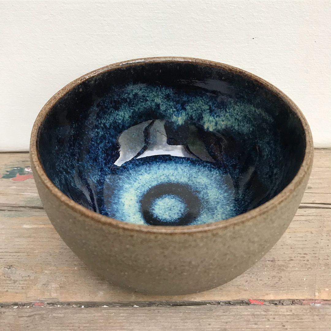 Glazed With Amaco Potter S Choice Blue Rutile 2x Over Temmoku 2x The Outside Is Unglazed And Poli Ceramics Pottery Bowls Glaze Ceramics Glazes For Pottery