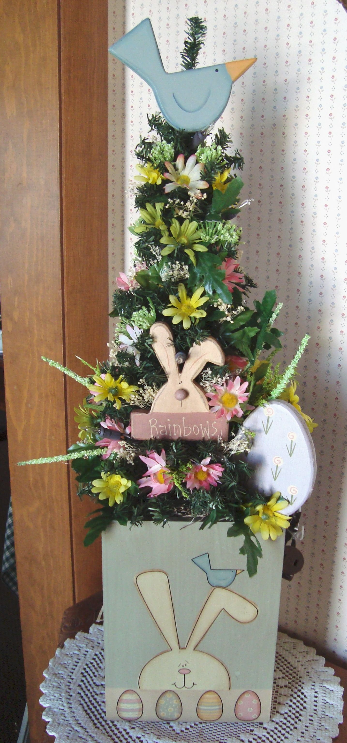 """18"""" Spring Easter tree accented with flowers, wooden egg in an wooden Easter box."""