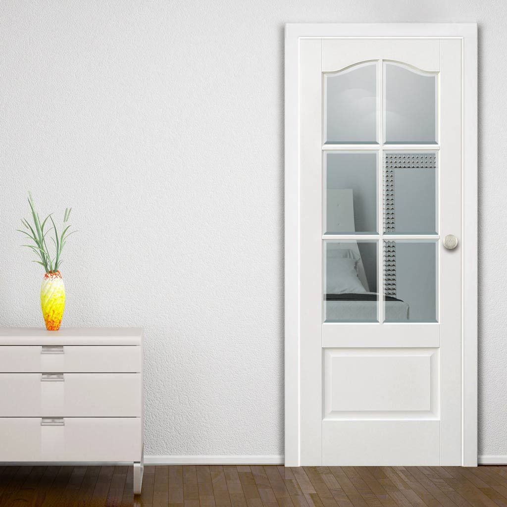Kent 6 Pane White Door With Bevelled Clear Safety Glass Hallway