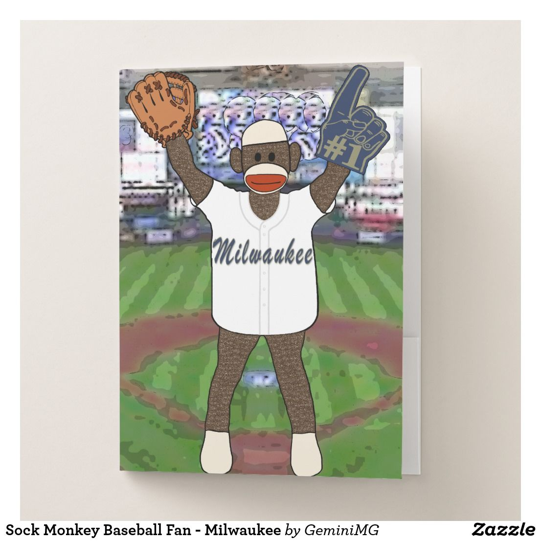 Sock Monkey Baseball Fan - Milwaukee Pocket Folder | Zazzle.com #sockmoneky