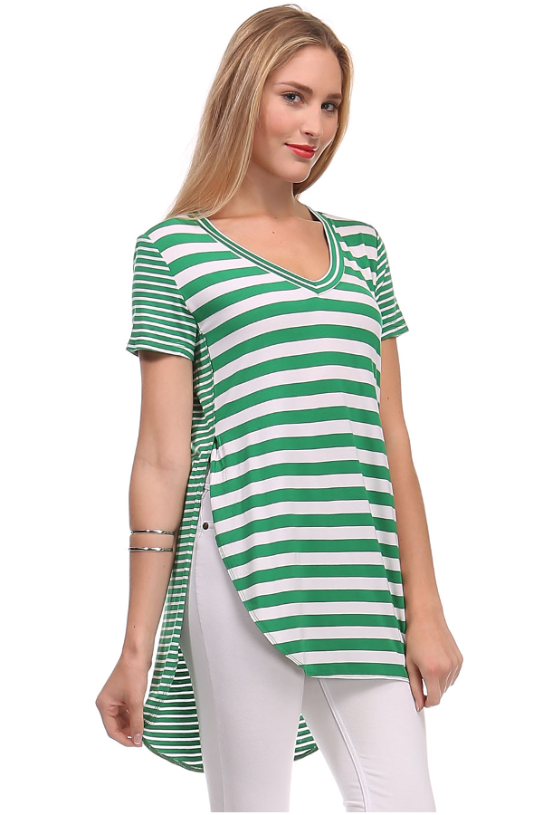 cb7449d6657333 Short Sleeve Striped Top High Low Hem  Go for a flattering look with this  short sleeve striped top! Features a v-neckline
