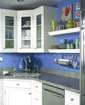 Kitchen Corner Solutions Glass front cabinets, Corner sink and