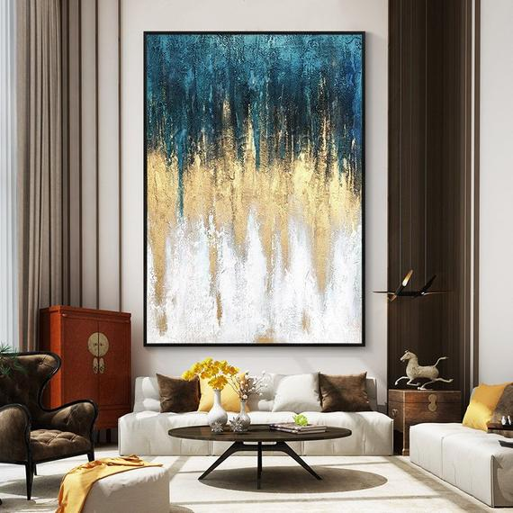 Gerahmte Wandkunst Acryl Malerei auf Leinwand Original Extra große Gold Petrol grün blau Kunst Blatt Wand Kunst Sound Welle Büro Textur Malerei