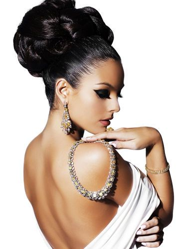 elaborate hair updo and diamond jewelry (necklace, bracelet and earrings) - classic and timeless style!