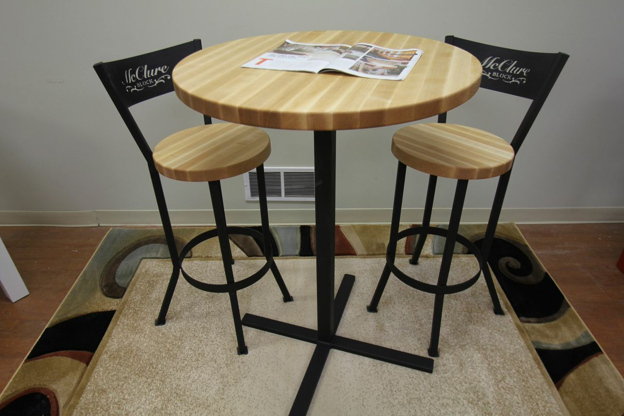Butcher Block Pub Table With Matching Chairs By Mcclure Tables Butcher Block Kitchen Island Butcher Block Butcher Block Tables