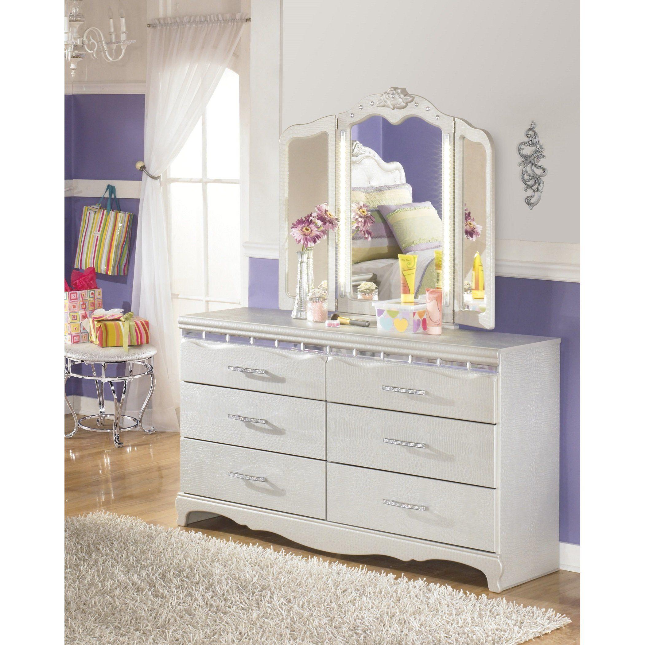Furnituremaxx Julia Girl S Bedroom Silver And Pear Dresser W 3