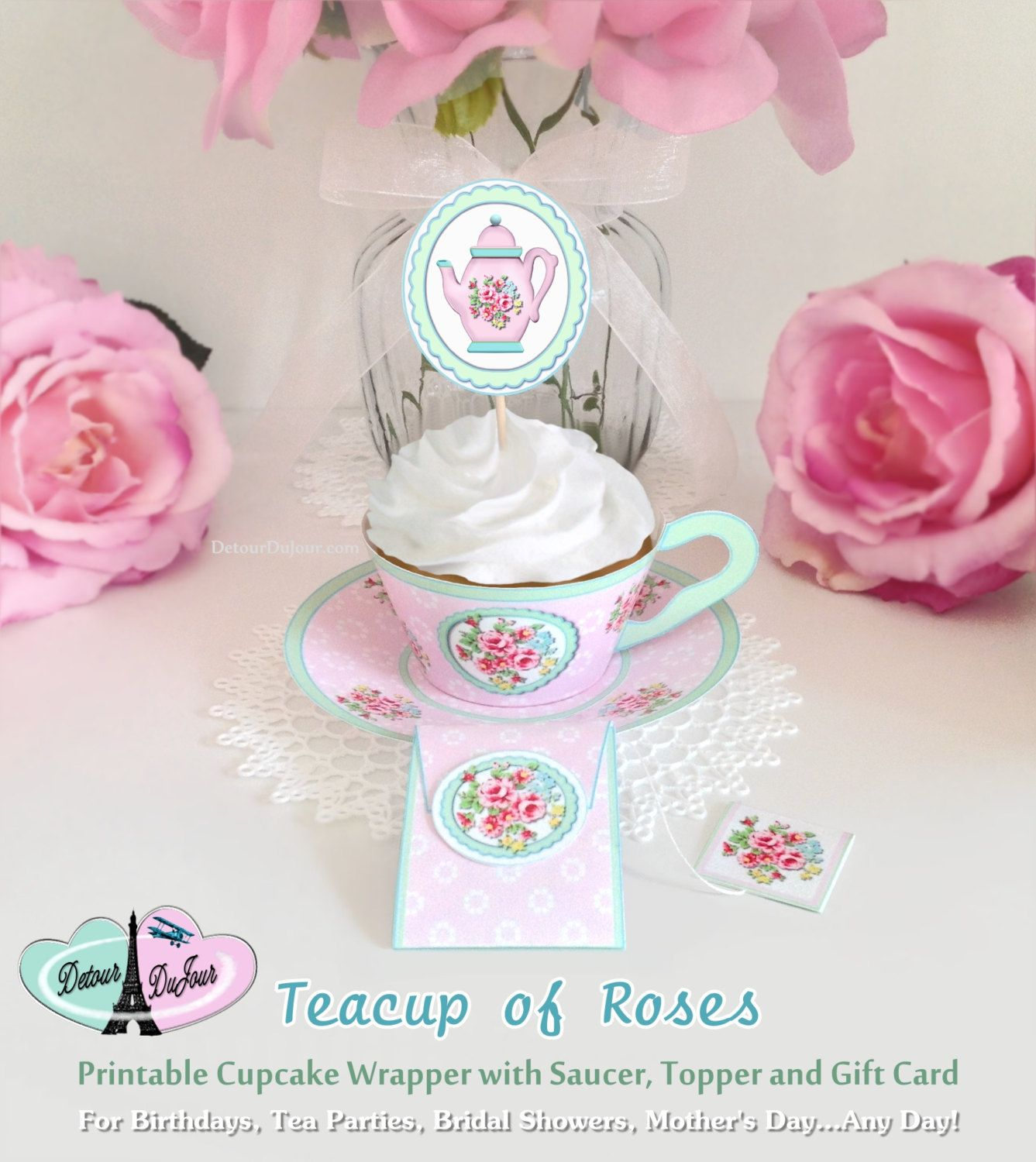 Diy Printable Paper Tea Cups Teacup Cupcake Holders