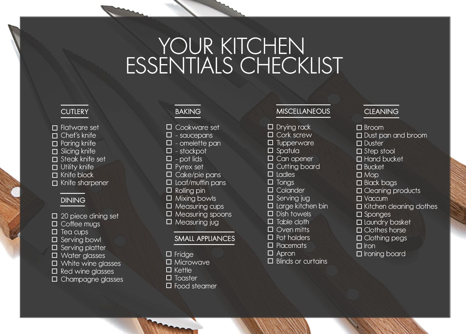 Essentials For A Kitchen 1 Checklist