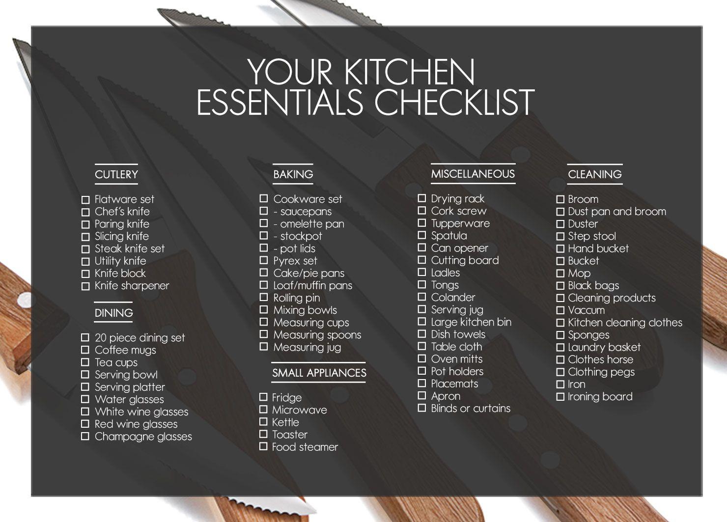Essentials For A Kitchen 1 Kitchen Essentials Checklist
