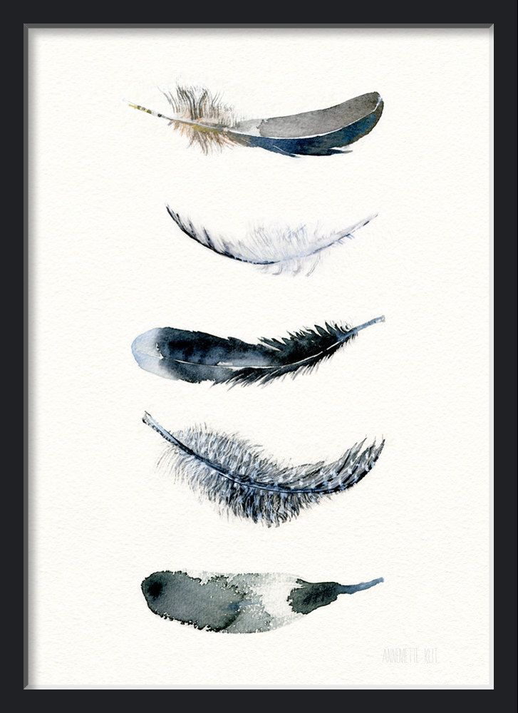 Feather watercolor art black bird feather art by TheClayPlay